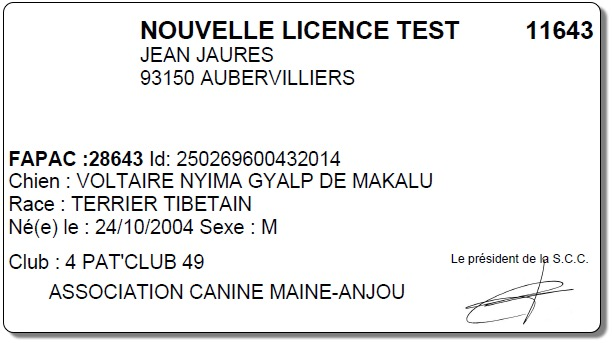centrale canine licence